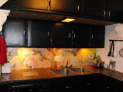 Mosaic Tile Art from Renate as a Kitchen Backsplash